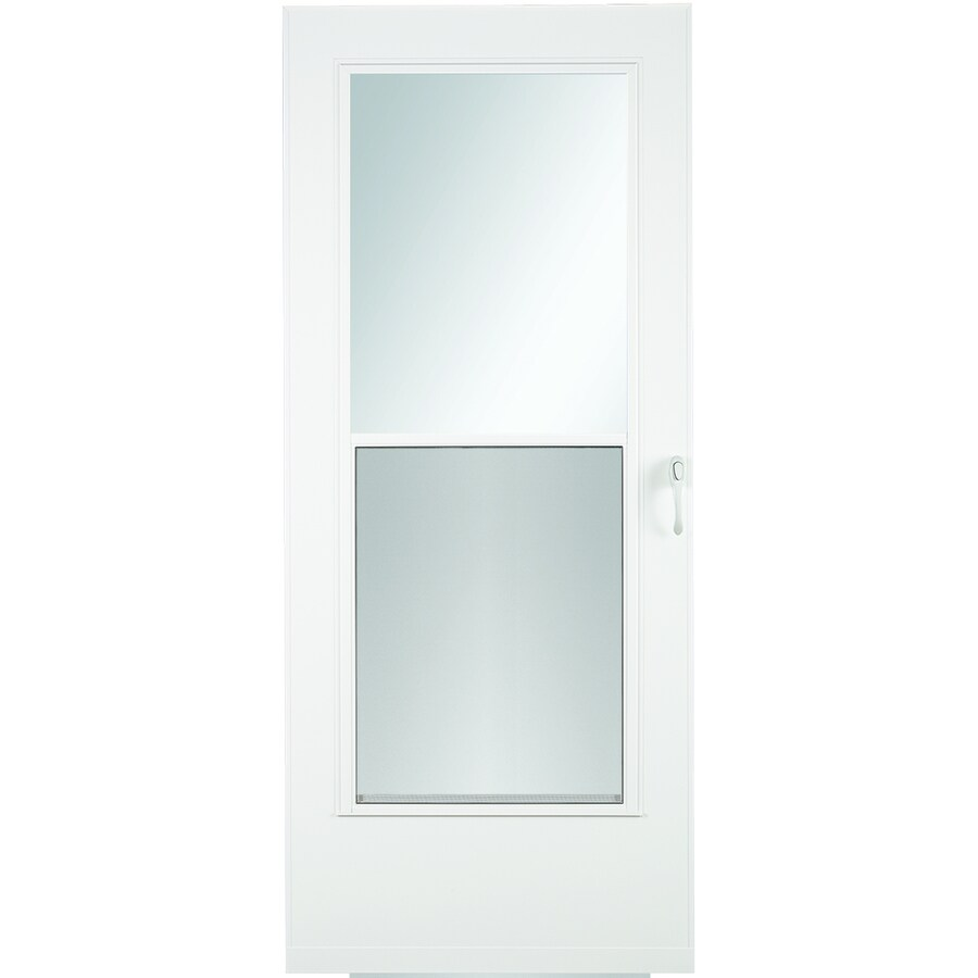 larson mobile home 34 in x 78 in white mid view wood core storm door