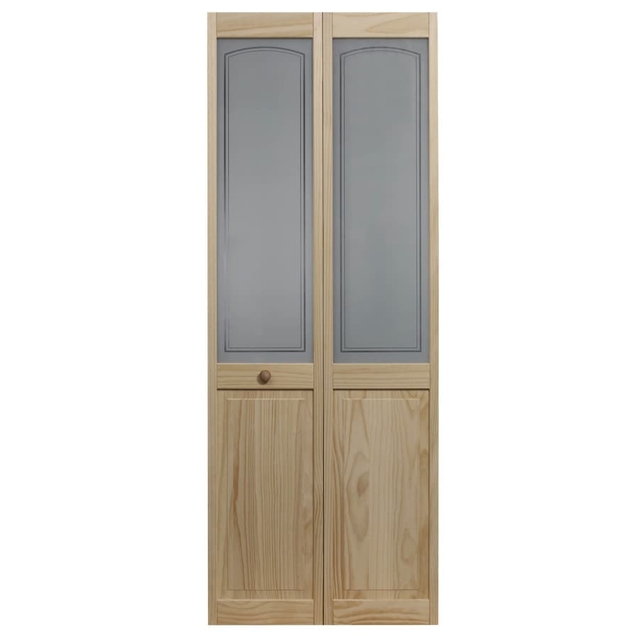 pinecroft mezzo 30 in x 80 in unfinished pine wood 2 panel on Pinecroft 30 In X 80 In Optique Clear Lite id=70245