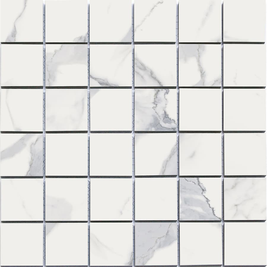 style selections calacatta white 12 in x 12 in matte porcelain marble uniform squares marble look floor tile