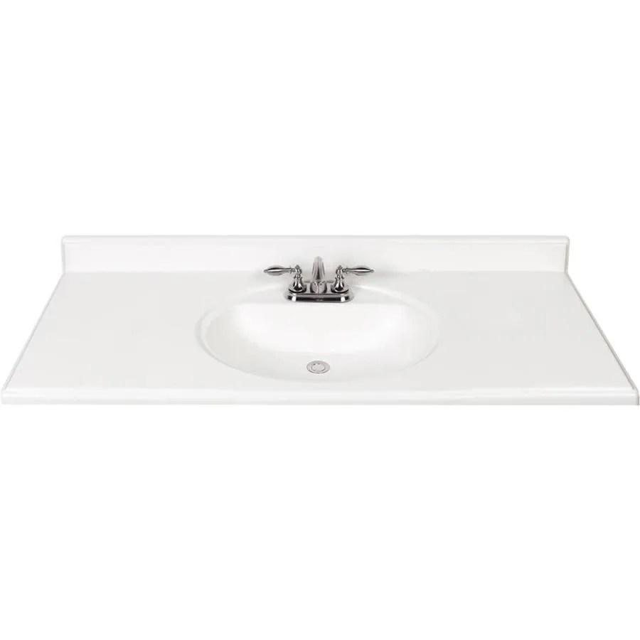 49 in white cultured marble single sink bathroom vanity top lowes com