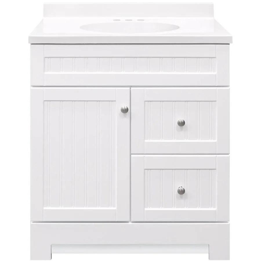 white single sink bathroom vanity with