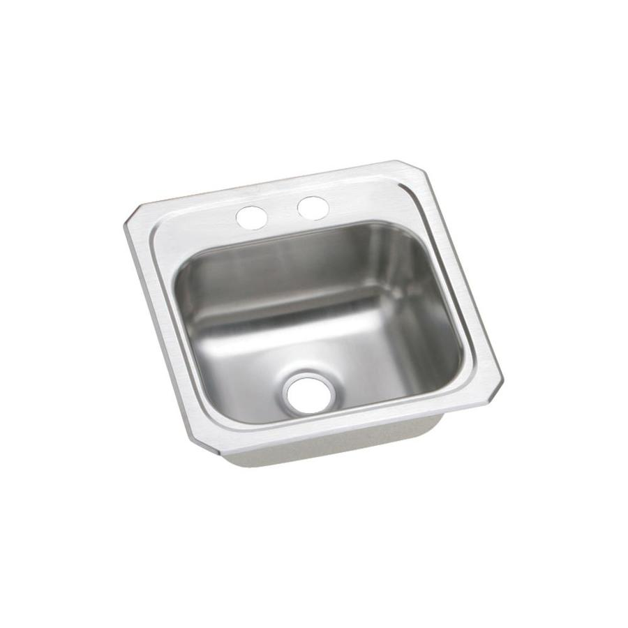 elkay gourmet 15 in l x 15 in w brushed satin 2 hole stainless steel drop in residential bar sink
