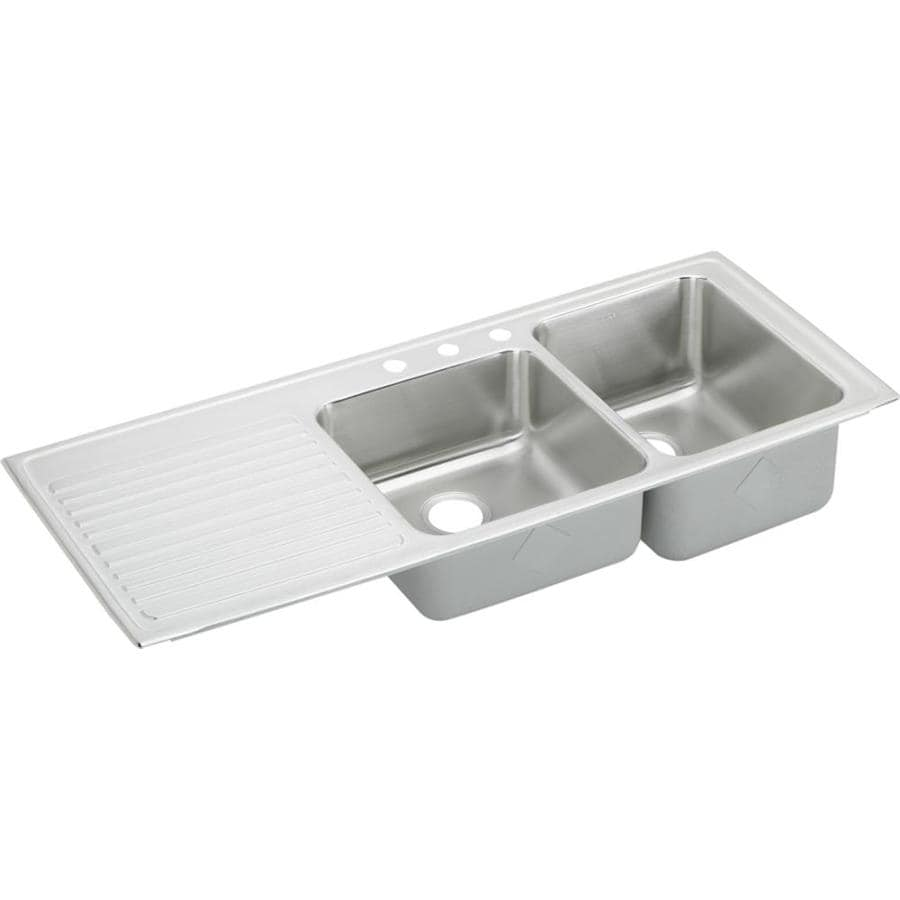 elkay gourmet drop in 54 in x 22 in lustrous satin double offset bowl 3 hole workstation kitchen sink with drainboard