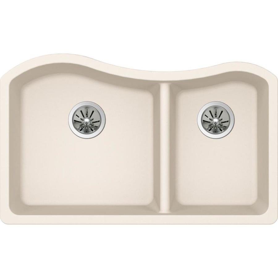 Elkay Harmony 20 In X 32.5 In Parchment Double Basin Quartz Undermount  Residential Kitchen Sink