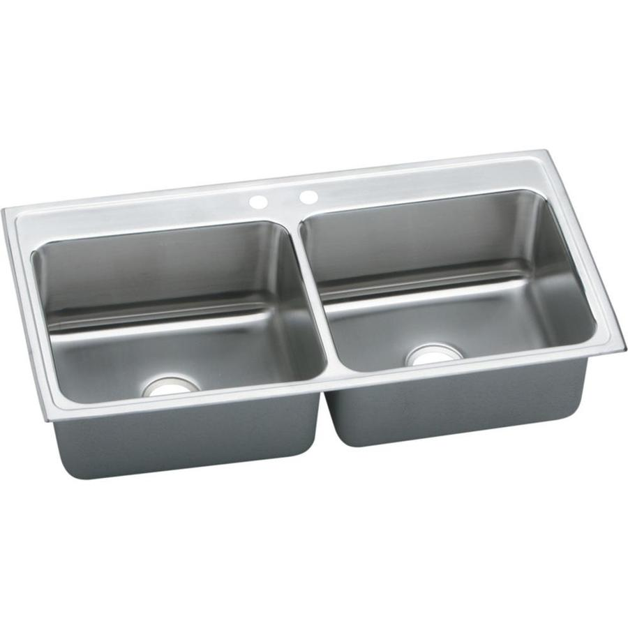 Elkay Gourmet 22 In X 43 In Lustrous Highlighted Satin Double Basin  Stainless Steel Drop In 2 Hole Residential Kitchen Sink