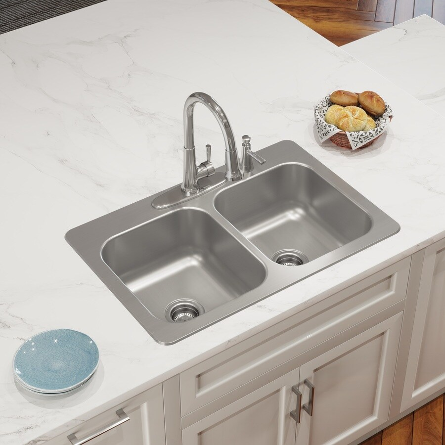 elkay dual mount 33 in x 22 in stainless steel double equal bowl 4 hole kitchen sink