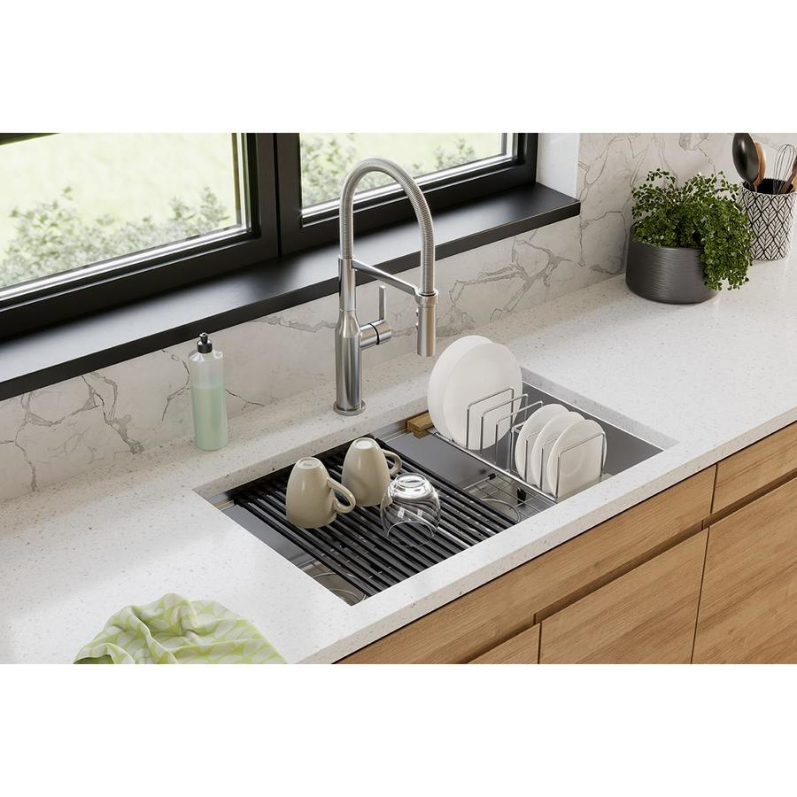 elkay crosstown undermount 14 3 in x 18 50 in polished satin double equal bowl workstation kitchen sink