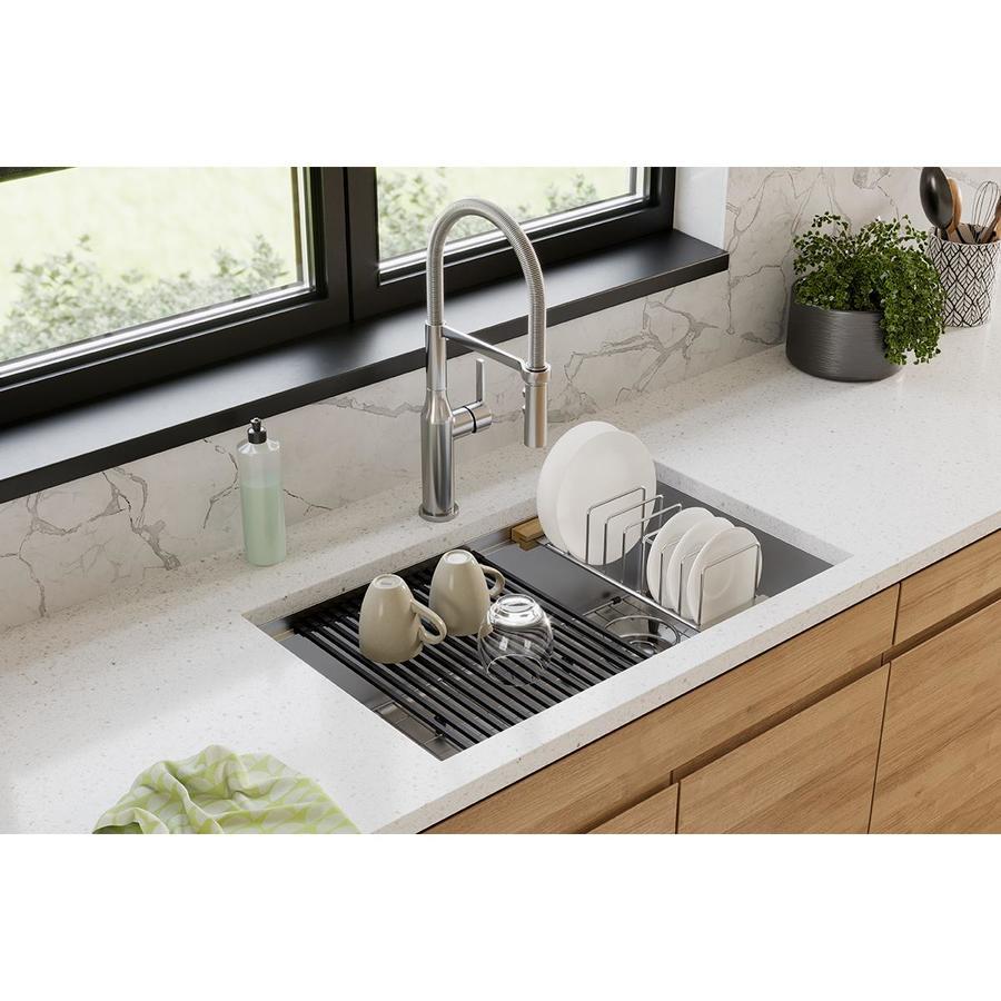 elkay crosstown undermount 30 in x 18 50 in polished satin single bowl workstation kitchen sink