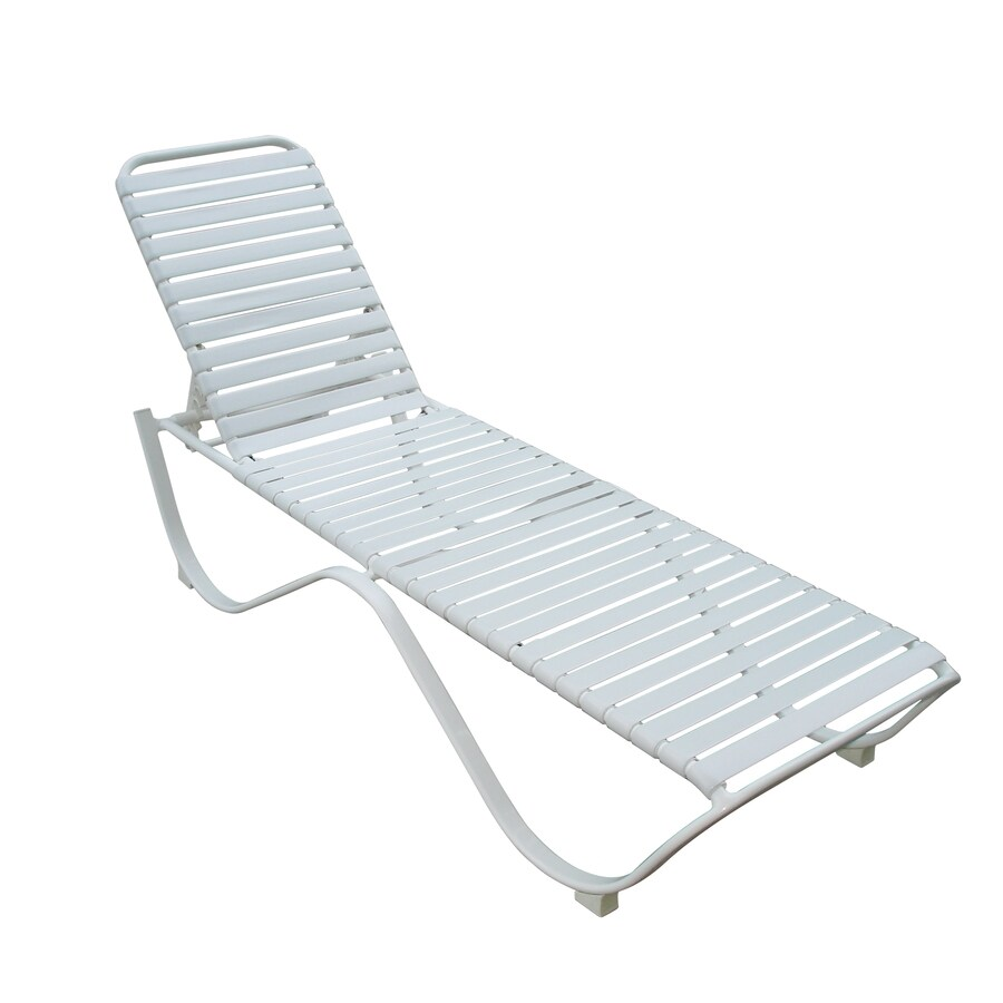 garden treasures white aluminum stackable patio chaise lounge chair