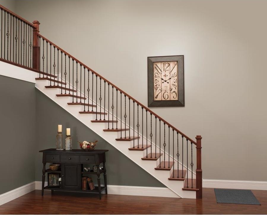 2 25 In X 16 Ft Unfinished Red Oak Handrail In The Handrails   6010 Red Oak Handrail   Stair Handrail   Start Easing   Iron Balusters   Tandem Cap   Staircase Handrail