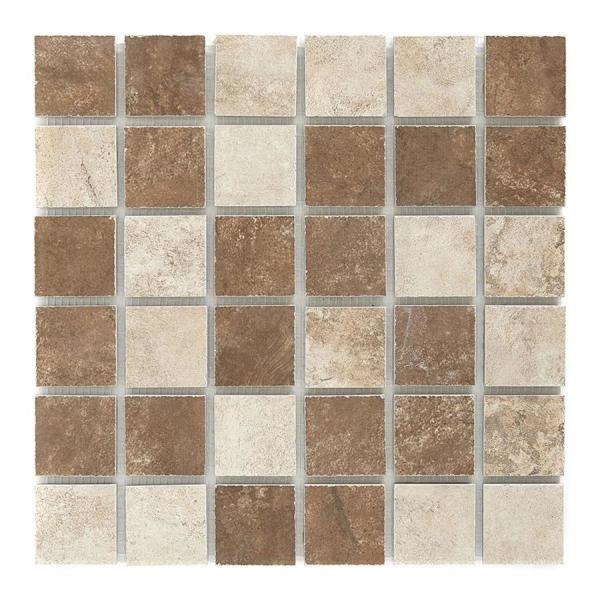 Shop Accent   Trim Tile at Lowes com Style Selections Mesa Mixed Rust and Beige  Glazed Porcelain Listello Tile   Common  12