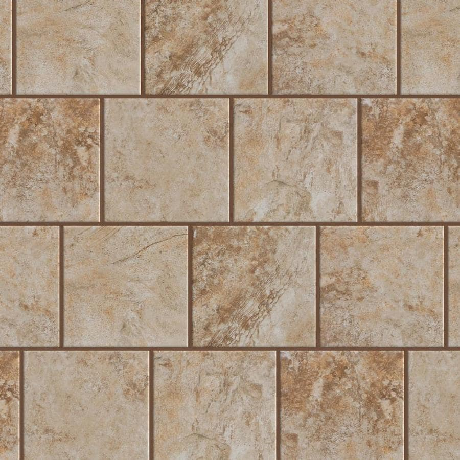 style selections mesa beige 6 in x 6 in glazed porcelain stone look floor and wall tile