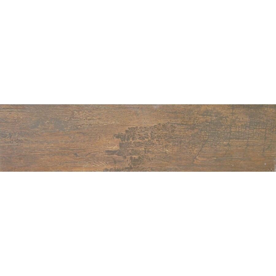 6 in x 24 in cabin row weathered oak glazed porcelain floor tile lowes com