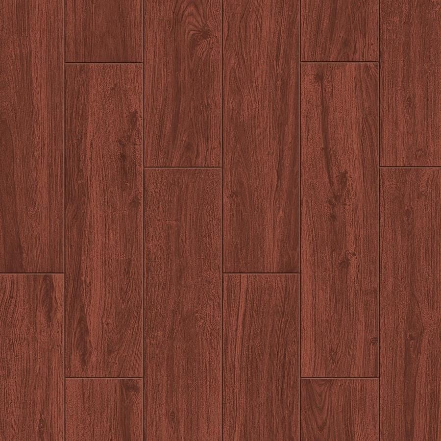 style selections serso mahogany 6 in x 24 in glazed porcelain wood look floor and wall tile