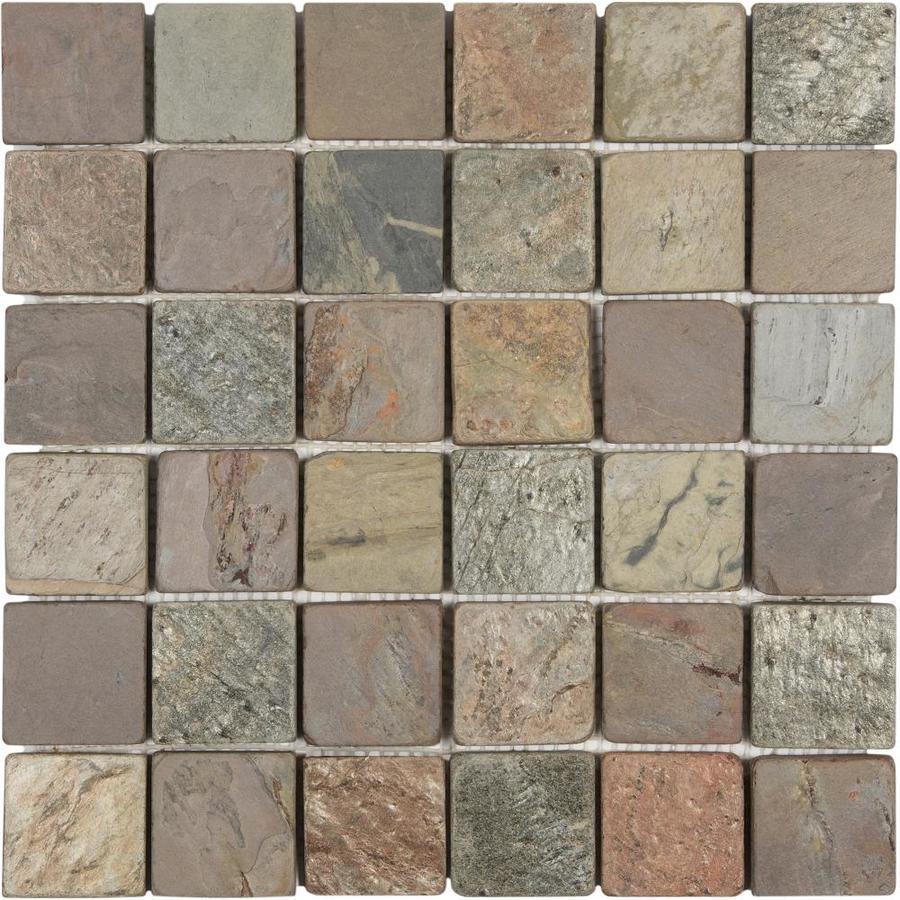 satori multi color tumbled 12 in x 12 in natural stone slate uniform squares wall tile