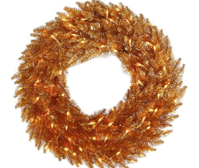 Vickerman  In Pre Lit Copper Tinsel Artificial Christmas Wreath With White Clear Incandescent