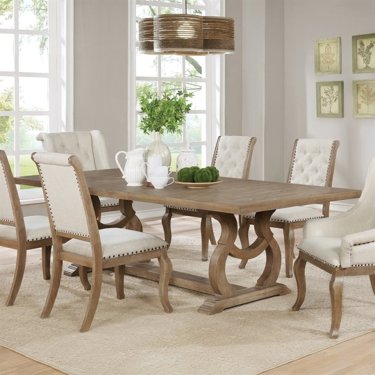 shop scott living barley brown wood dining table at lowes