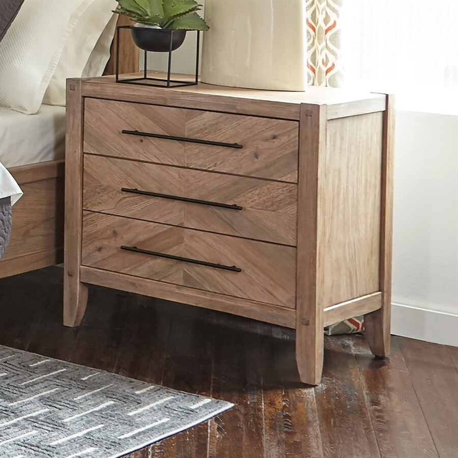 Scott Living White Washed Natural Mahogany Nightstand At