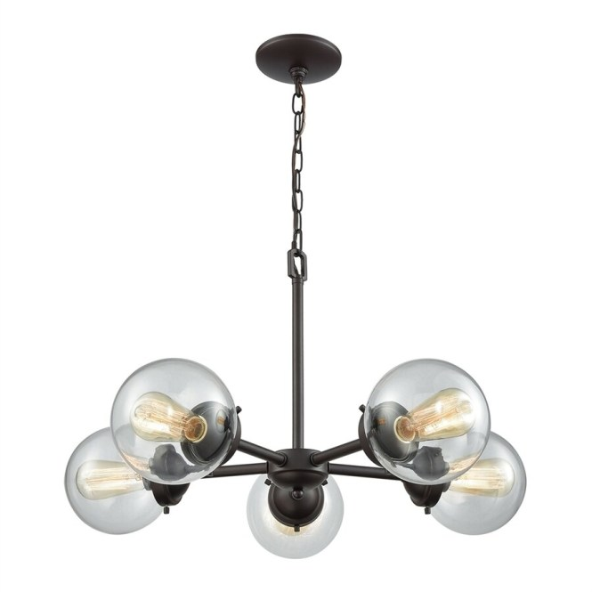 Thomas Lighting Beckett 26 In 5 Light Oil Rubbed Bronze Clear Glass