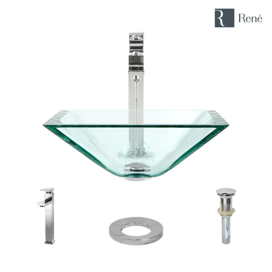 rene crystal tempered glass vessel square bathroom sink with faucet drain included 16 5 in x 16 5 in