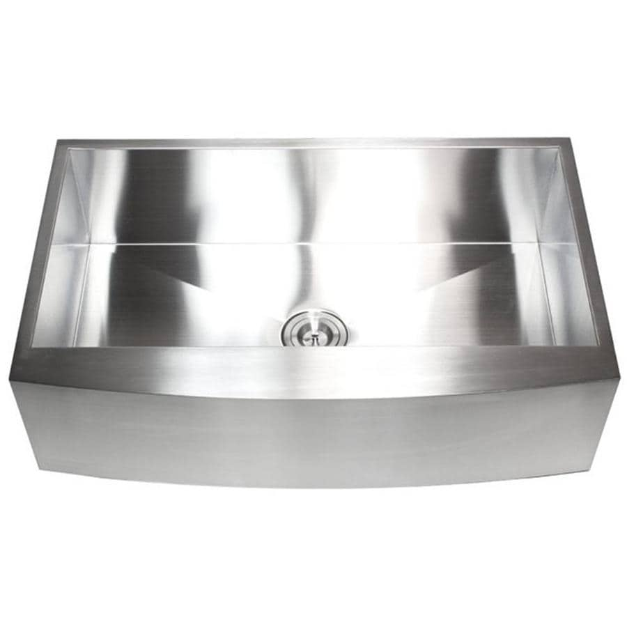 kingsman hardware farmhouse apron front 36 in x 21 in stainless steel brushed nickel single bowl kitchen sink