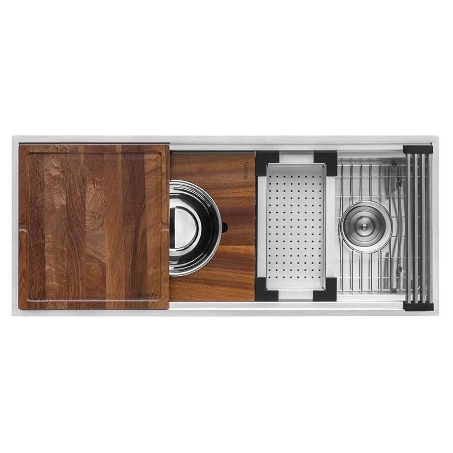 ruvati roma undermount 45 in x 19 in brushed stainless steel single bowl workstation kitchen sink