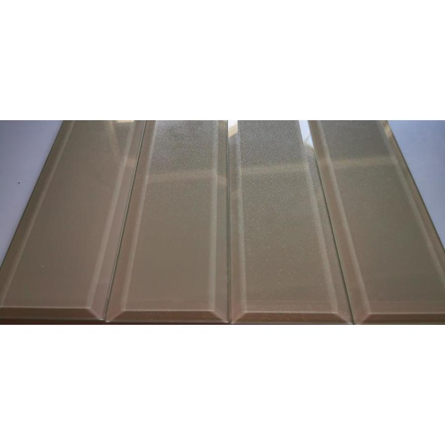 abolos frosted elegance 56 pack glittery cream glossy 3 in x 12 in glossy glass subway wall tile