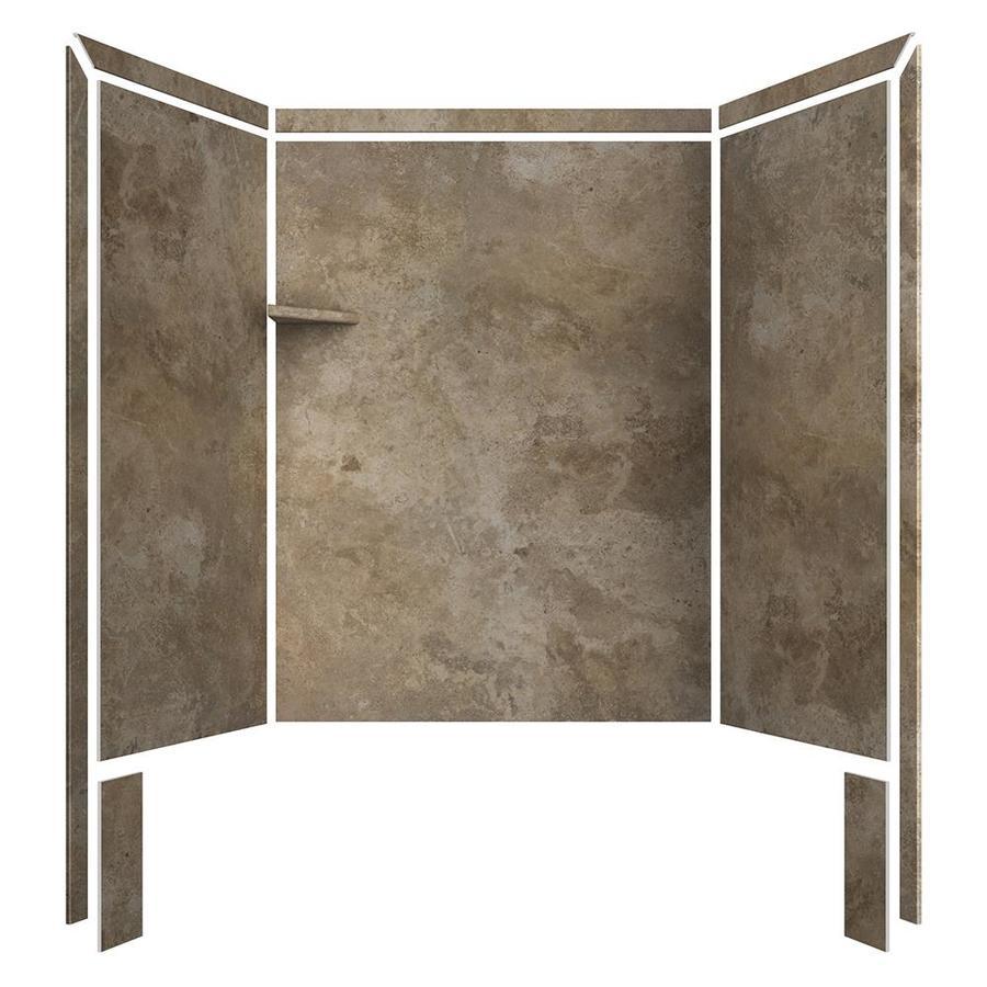 flexstone royale mocha travertine panel kit shower wall surround 60 in x 36 in