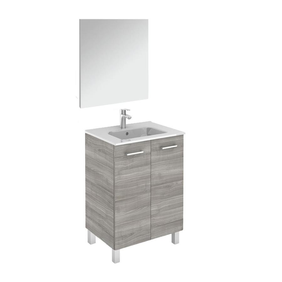 ws bath collections logic vanities 24 in sandy grey single sink bathroom vanity with ceramic white ceramic top mirror included