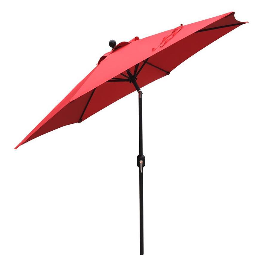 clihome 9 ft red crank market patio umbrella