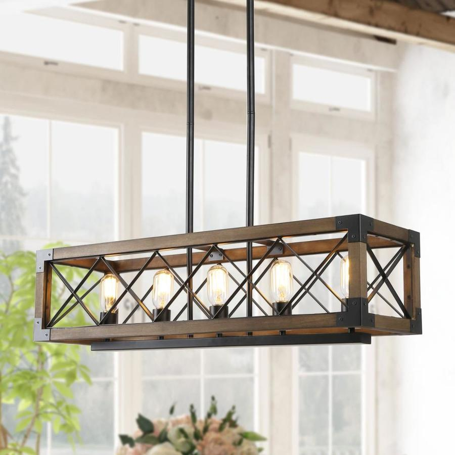 lnc livia nature wood brown and black farmhouse seeded glass linear kitchen island light