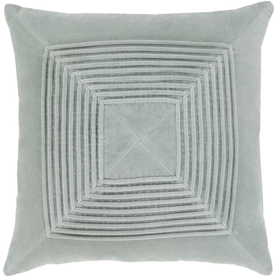 surya akira 22 in x 22 in ice blue 100 cotton square indoor decorative pillow in the throw pillows department at lowes com