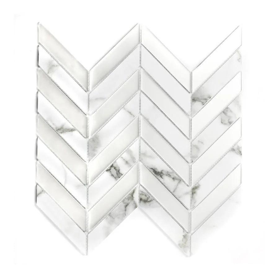 abolos musico bianco carrara 3 in x 3 in matte glass herringbone mosaic wall tile sample lowes com