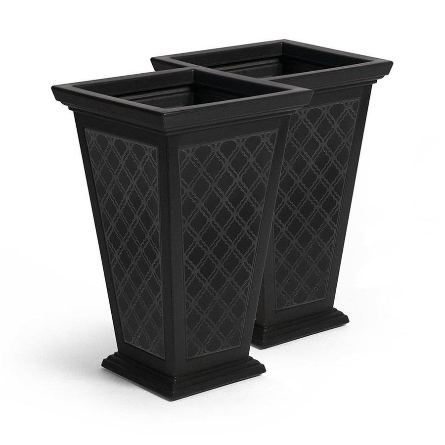 fcmp outdoor 2 pack 15 in w x 24 in h black plastic planter