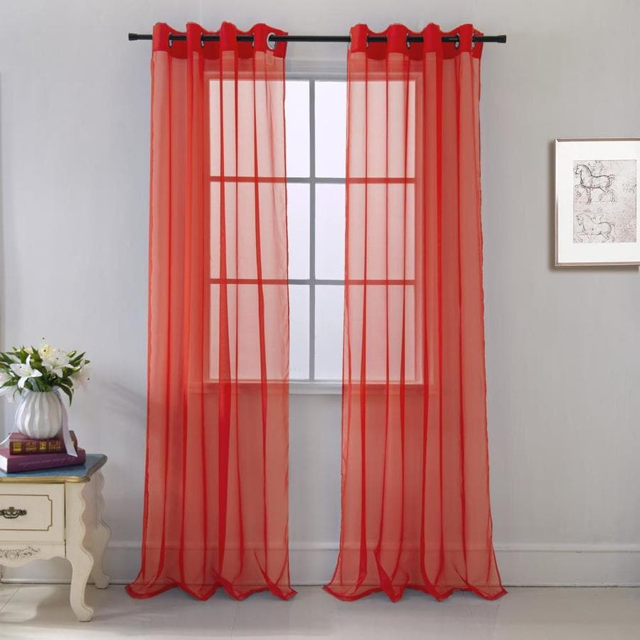 rt designers collection 84 in red polyester sheer grommet single curtain panel