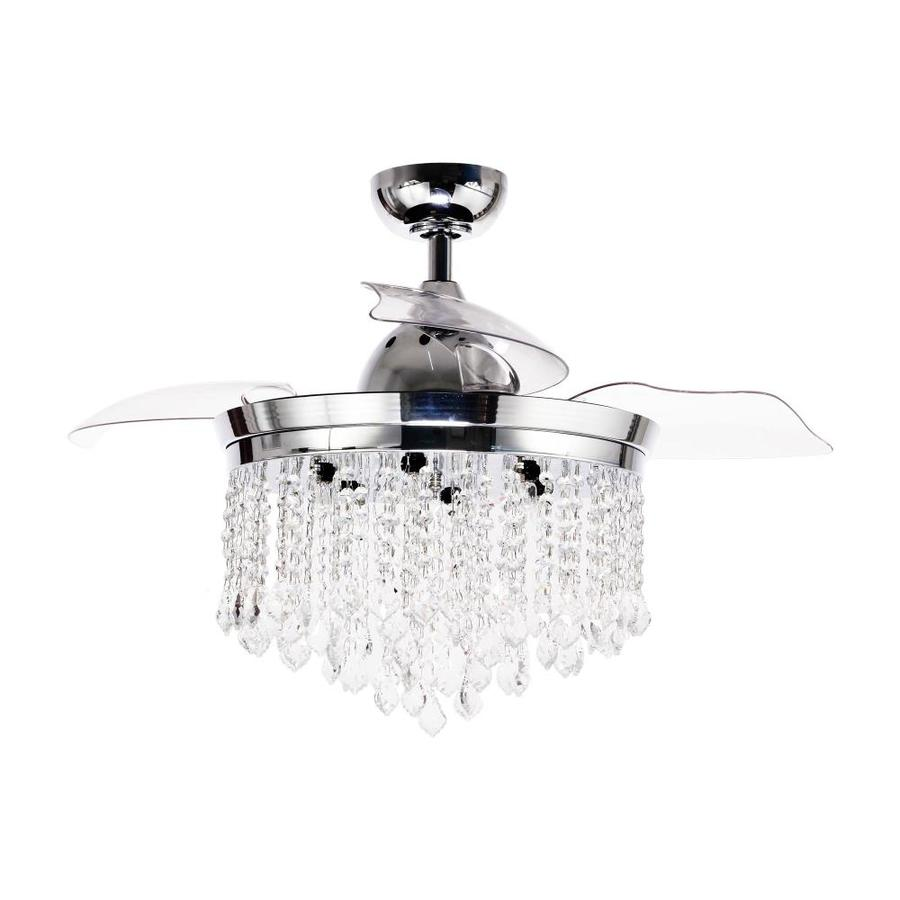parrot uncle 42 in chrome indoor ceiling fan with light and remote 3 blade