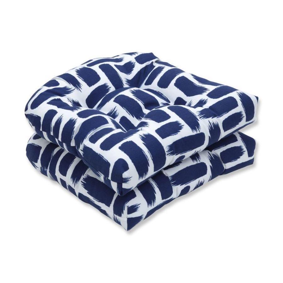 pillow perfect baja nautical 2 piece blue patio chair cushion