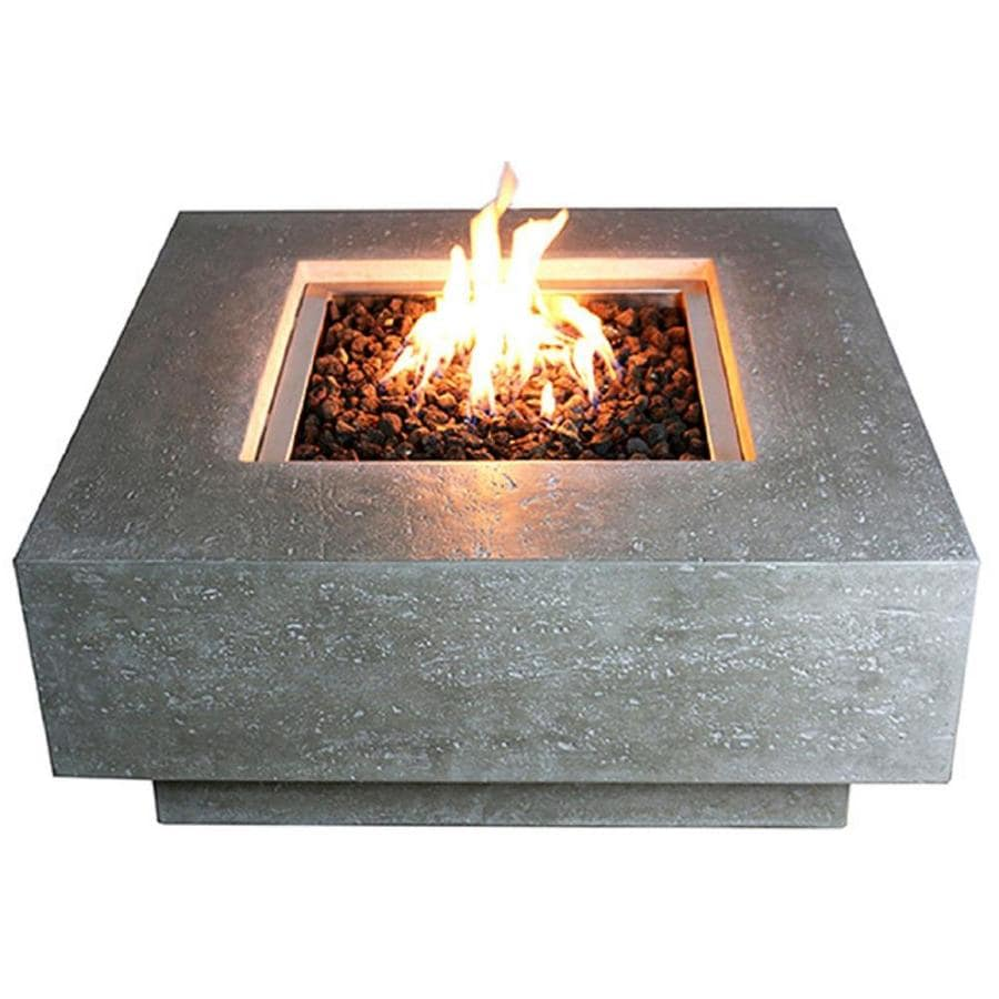 Elementi Elementi Manhattan Outdoor Gas Fire Pit Table 36 In Natural Gas Fire Pit Patio Heater Concrete High Floor Clearance Fire Pits Outside Electronic Ignition Backyard Fireplace Cover Lava Rock Included In