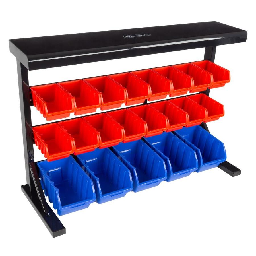 hastings home 21 bin storage rack wall mountable or tabletop shelves with removeable bins garage organizer for tools parts hardware crafts and