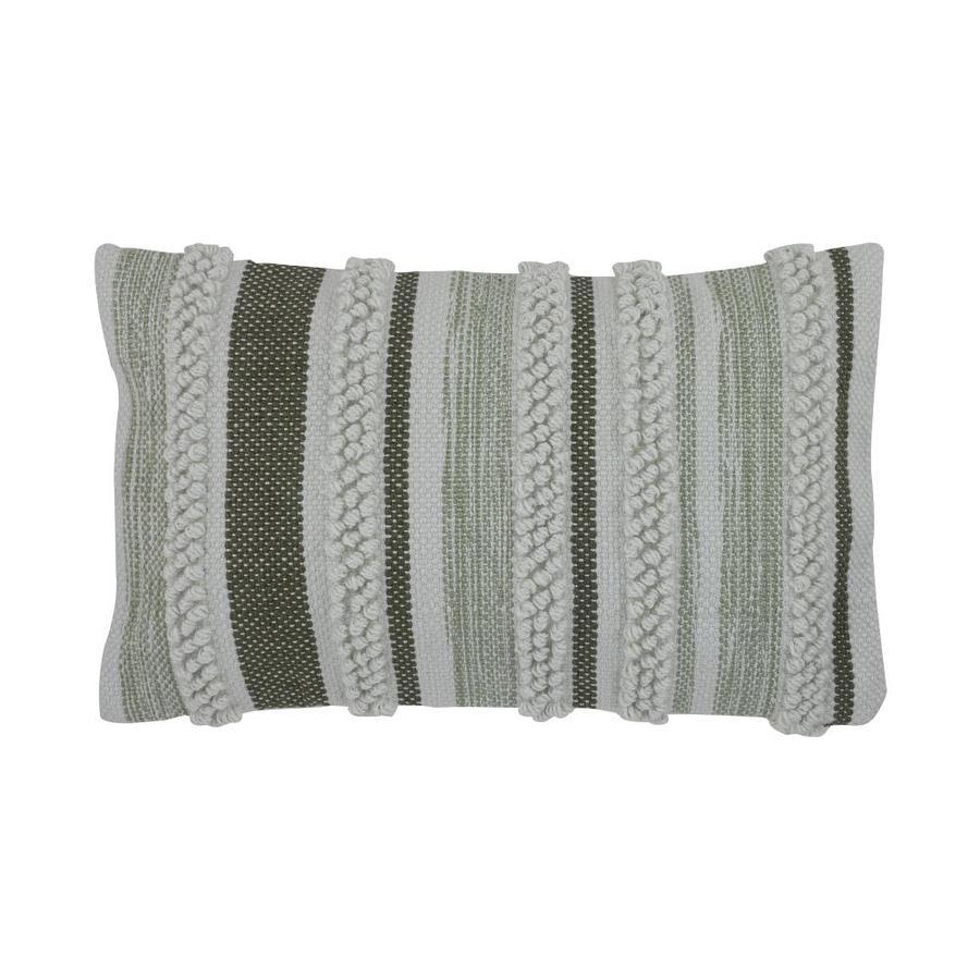 divine home striped moss green rectangular lumbar pillow