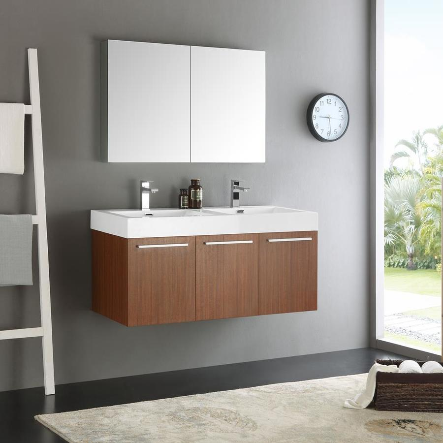 fresca senza 48 in teak drop in double sink bathroom vanity with white acrylic top faucet included