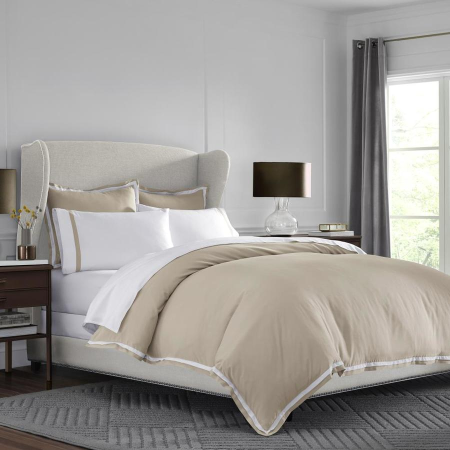 westpoint home martex 2000 series ultra soft microbrushed bedding 3 piece khaki white full queen duvet cover set in the bedding sets department at lowes com