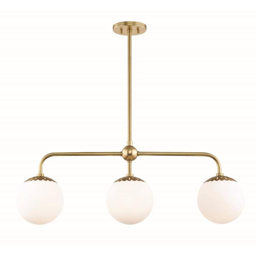 mitzi by hudson valley lighting paige aged brass modern contemporary opal glass linear kitchen island light