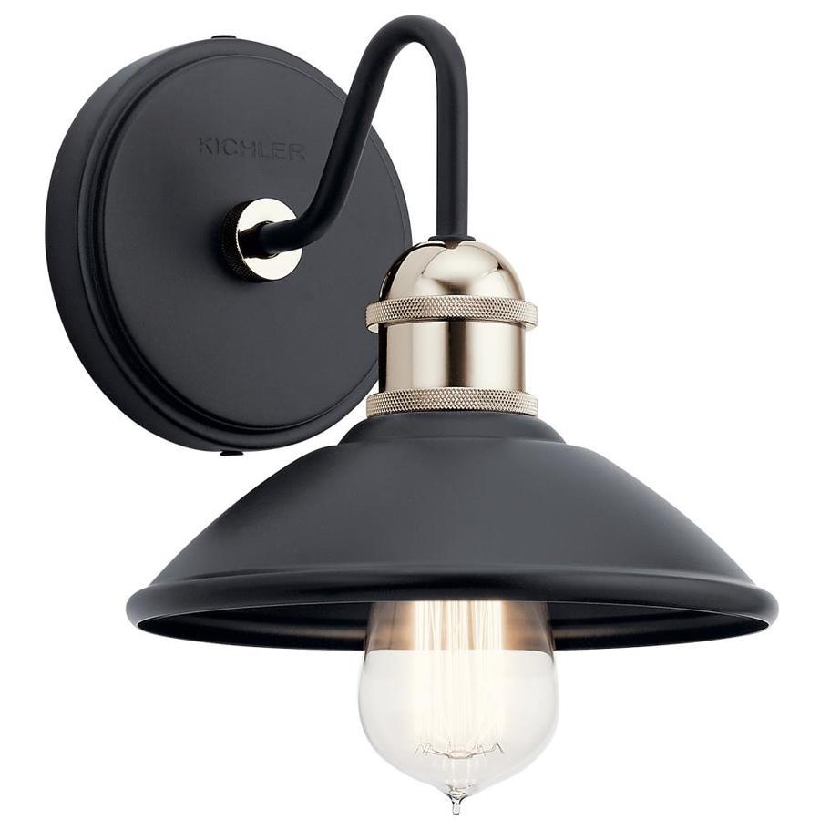 kichler clyde 1 light black industrial vanity light