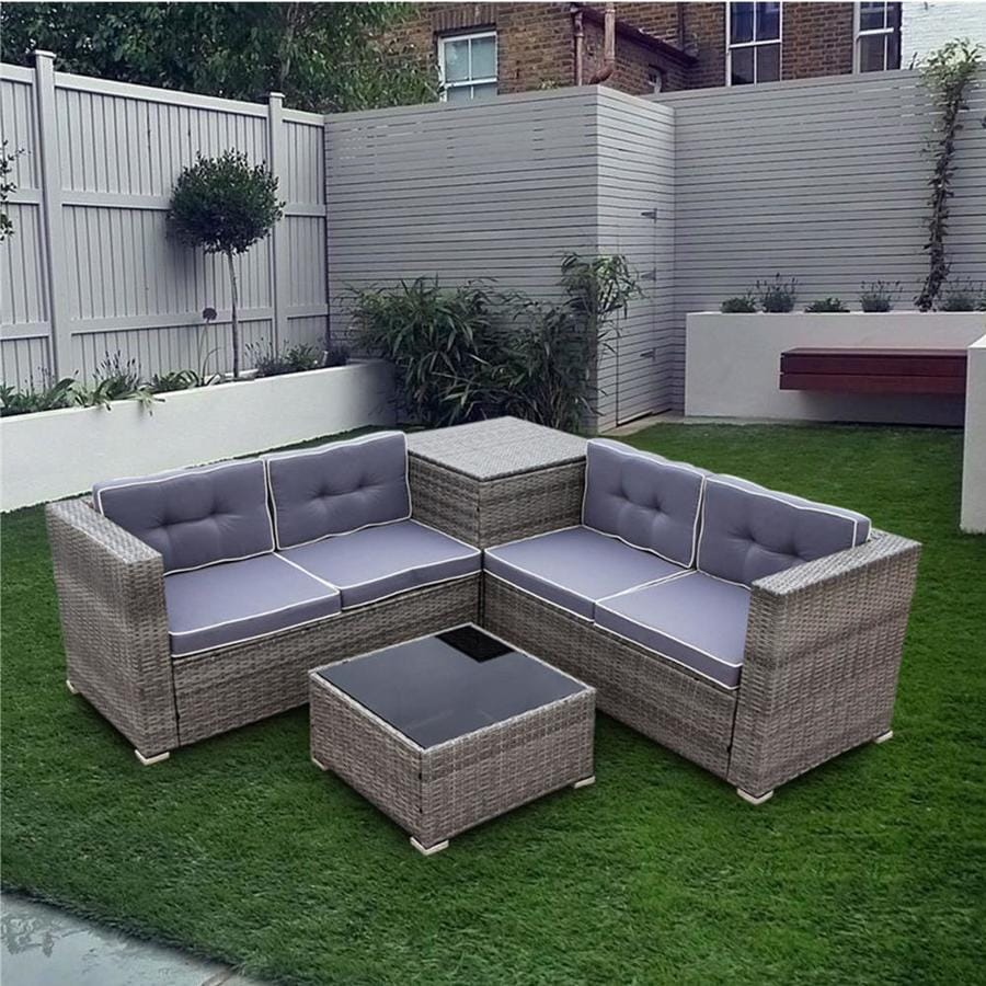 kinwell rattan outdoor furniture 4 piece resin frame patio conversation set with cushion s included lowes com