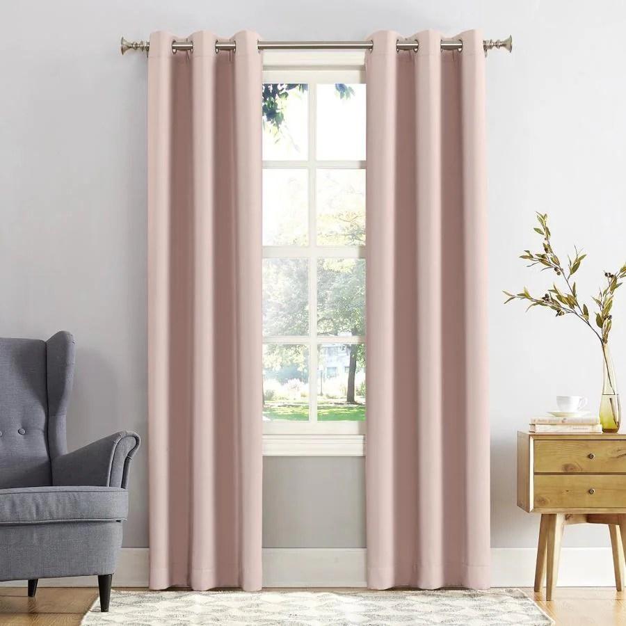 sun zero 95 in blush polyester blackout interlined grommet single curtain panel