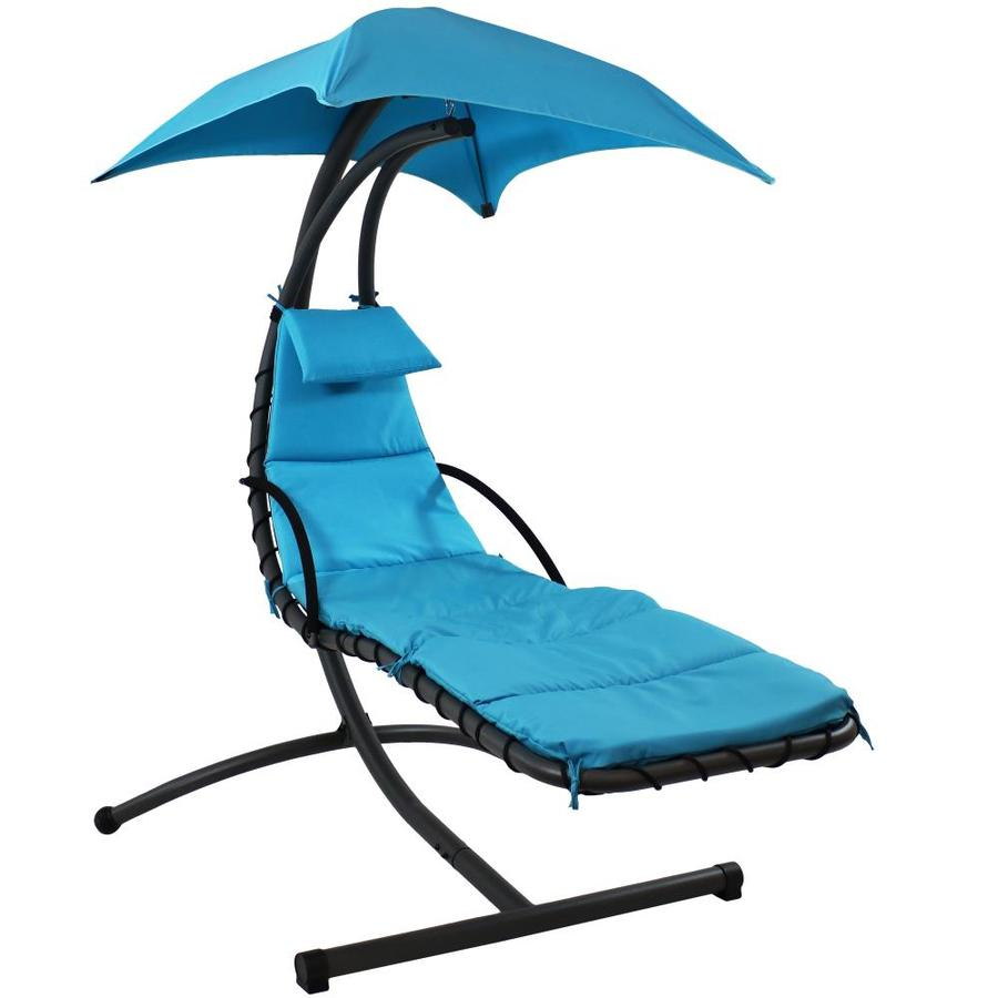 sunnydaze decor black metal frame hanging chaise lounge chair s with sling seat seat