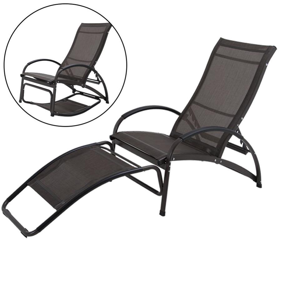 crestlive products patio chaise lounge aluminum frame in brown coating metal frame stationary chaise lounge chair s with brown textilene fabric sling