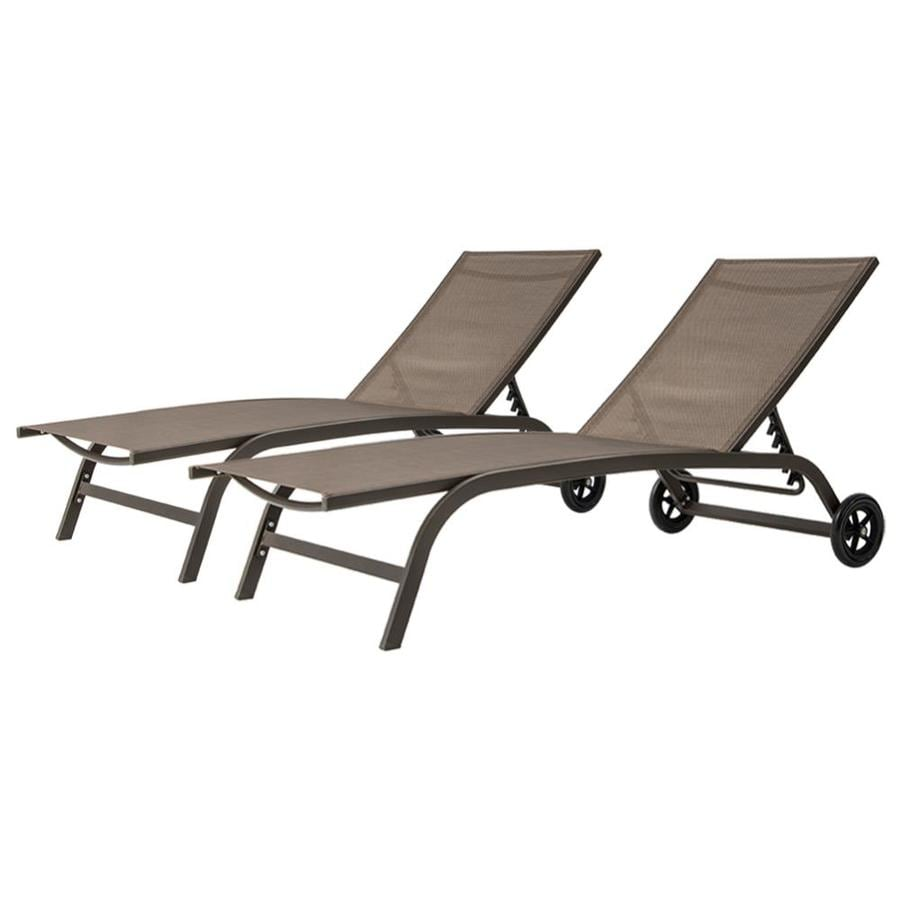 crestlive products patio chaise lounge set of 2 aluminum frame in classic brown finish metal frame stationary chaise lounge chair s with brown