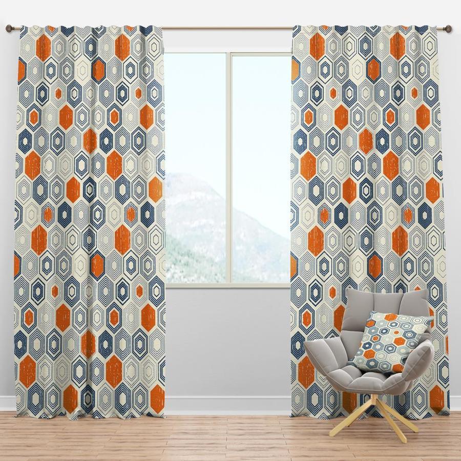 designart 120 in orange polyester room darkening thermal lined rod pocket single curtain panel